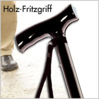 Alu-Gehstock mit Holz-Fritzgriff